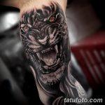 фото татуировка оскал тигра от 01.06.2018 №038 - tiger tattoo - tatufoto.com