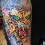 фото татуировка оскал тигра от 01.06.2018 №040 - tiger tattoo - tatufoto.com