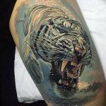 фото татуировка оскал тигра от 01.06.2018 №043 - tiger tattoo - tatufoto.com