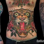 фото татуировка оскал тигра от 01.06.2018 №056 - tiger tattoo - tatufoto.com