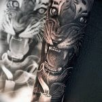 фото татуировка оскал тигра от 01.06.2018 №058 - tiger tattoo - tatufoto.com