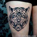 фото татуировка оскал тигра от 01.06.2018 №095 - tiger tattoo - tatufoto.com