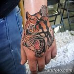 фото татуировка оскал тигра от 01.06.2018 №097 - tiger tattoo - tatufoto.com