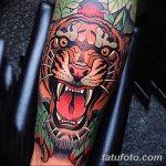 фото татуировка оскал тигра от 01.06.2018 №100 - tiger tattoo - tatufoto.com