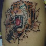 фото татуировка оскал тигра от 01.06.2018 №102 - tiger tattoo - tatufoto.com