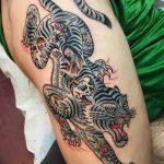 фото татуировка оскал тигра от 01.06.2018 №108 - tiger tattoo - tatufoto.com