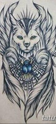 фото тату Кошка с крыльями от 26.06.2018 №005 – Cat tattoo with wings – tatufoto.com