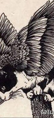 фото тату Кошка с крыльями от 26.06.2018 №009 – Cat tattoo with wings – tatufoto.com