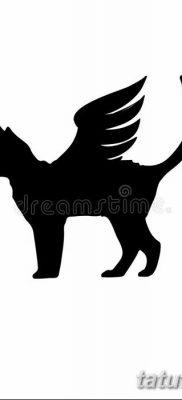 фото тату Кошка с крыльями от 26.06.2018 №029 – Cat tattoo with wings – tatufoto.com