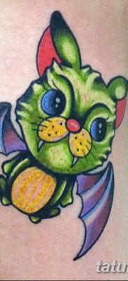 фото тату Кошка с крыльями от 26.06.2018 №032 – Cat tattoo with wings – tatufoto.com