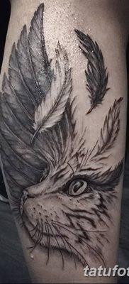 фото тату Кошка с крыльями от 26.06.2018 №042 – Cat tattoo with wings – tatufoto.com