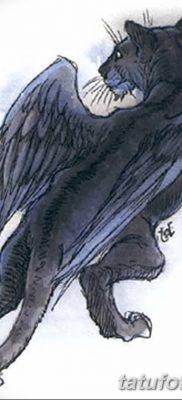 фото тату Кошка с крыльями от 26.06.2018 №043 – Cat tattoo with wings – tatufoto.com