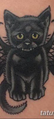фото тату Кошка с крыльями от 26.06.2018 №044 – Cat tattoo with wings – tatufoto.com