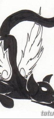 фото тату Кошка с крыльями от 26.06.2018 №061 – Cat tattoo with wings – tatufoto.com