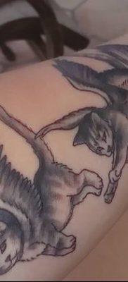 фото тату Кошка с крыльями от 26.06.2018 №063 – Cat tattoo with wings – tatufoto.com