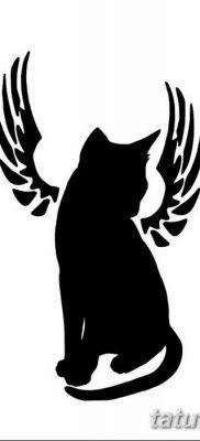 фото тату Кошка с крыльями от 26.06.2018 №064 – Cat tattoo with wings – tatufoto.com