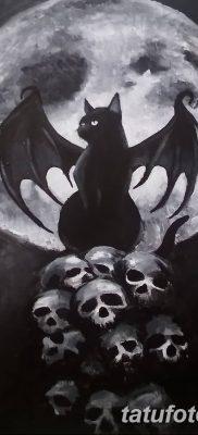 фото тату Кошка с крыльями от 26.06.2018 №066 – Cat tattoo with wings – tatufoto.com