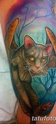 фото тату Кошка с крыльями от 26.06.2018 №067 – Cat tattoo with wings – tatufoto.com