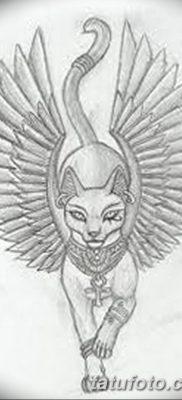 фото тату Кошка с крыльями от 26.06.2018 №069 – Cat tattoo with wings – tatufoto.com