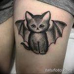 фото тату Кошка с крыльями от 26.06.2018 №082 - Cat tattoo with wings - tatufoto.com