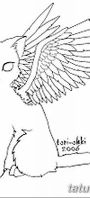 фото тату Кошка с крыльями от 26.06.2018 №083 – Cat tattoo with wings – tatufoto.com