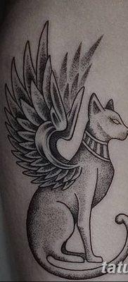 фото тату Кошка с крыльями от 26.06.2018 №088 – Cat tattoo with wings – tatufoto.com