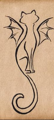 фото тату Кошка с крыльями от 26.06.2018 №089 – Cat tattoo with wings – tatufoto.com