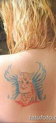 фото тату Кошка с крыльями от 26.06.2018 №093 – Cat tattoo with wings – tatufoto.com