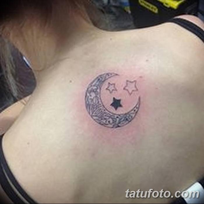 фото тату полумесяц со звездой от 26.06.2018 №011 - tattoo crescent with a - tatufoto.com