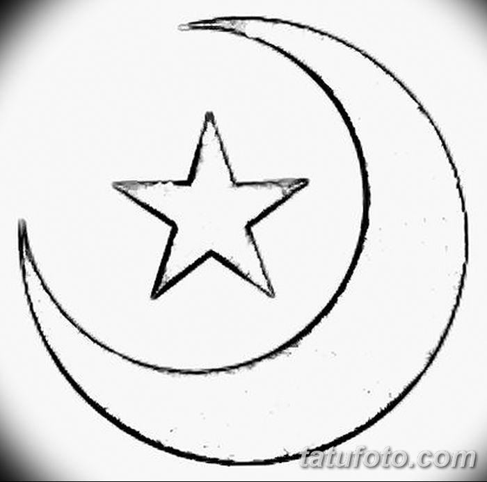 фото тату полумесяц со звездой от 26.06.2018 №025 - tattoo crescent with a - tatufoto.com