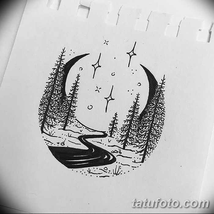 фото тату полумесяц со звездой от 26.06.2018 №038 - tattoo crescent with a - tatufoto.com