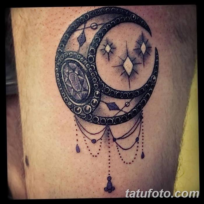 фото тату полумесяц со звездой от 26.06.2018 №039 - tattoo crescent with a - tatufoto.com