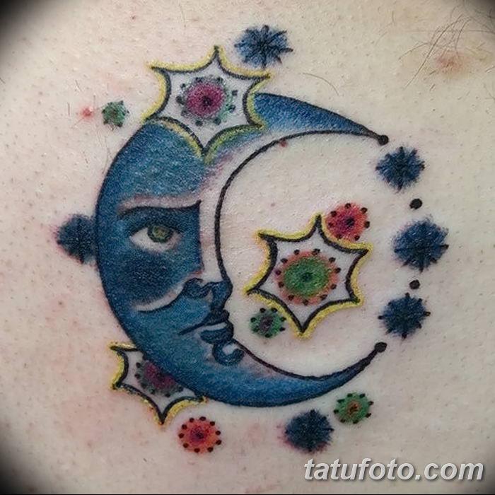 фото тату полумесяц со звездой от 26.06.2018 №040 - tattoo crescent with a - tatufoto.com