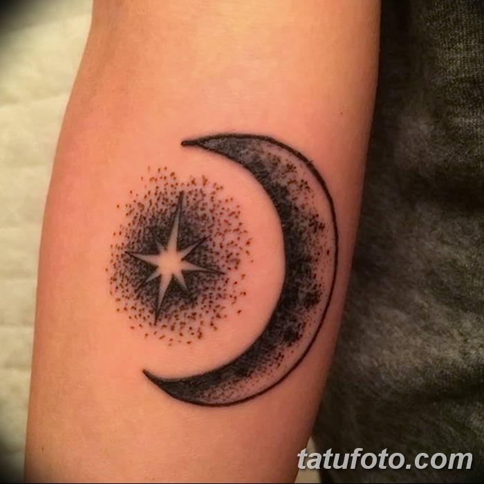 фото тату полумесяц со звездой от 26.06.2018 №059 - tattoo crescent with a - tatufoto.com