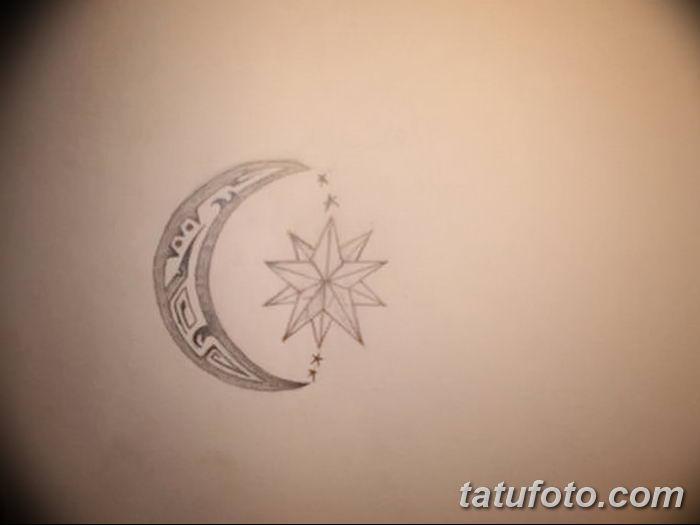 фото тату полумесяц со звездой от 26.06.2018 №062 - tattoo crescent with a - tatufoto.com