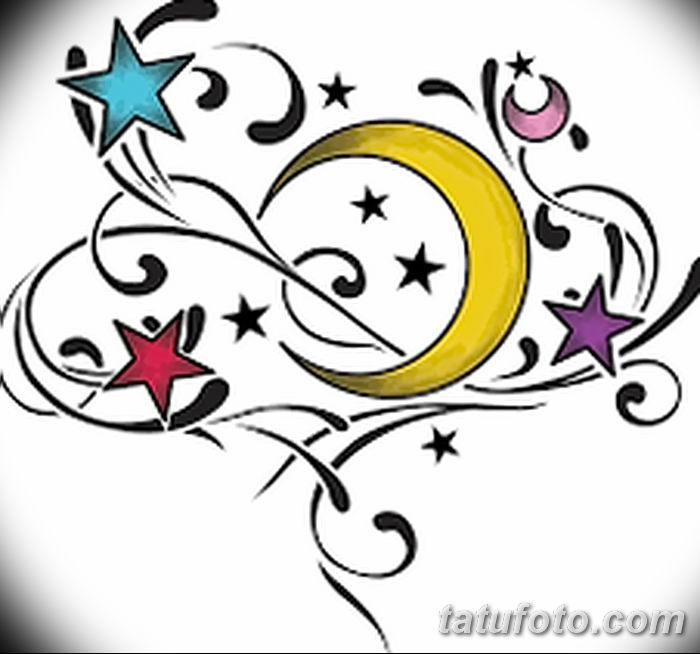 фото тату полумесяц со звездой от 26.06.2018 №079 - tattoo crescent with a - tatufoto.com