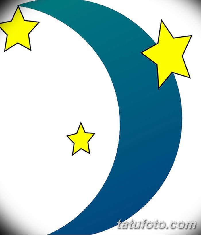 фото тату полумесяц со звездой от 26.06.2018 №081 - tattoo crescent with a - tatufoto.com
