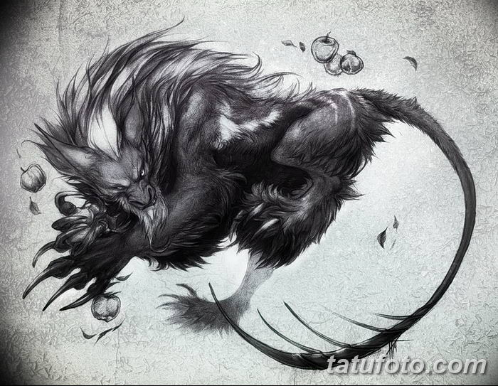 Фото тату мантикора от 31.07.2018 №013 - tattoo manticore - tatufoto.com