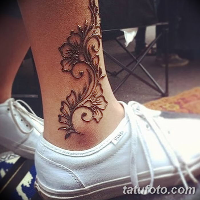 фото Мехенди на лодыжке от 13.07.2018 №114 - Mehendi on the ankle - tatufoto.com