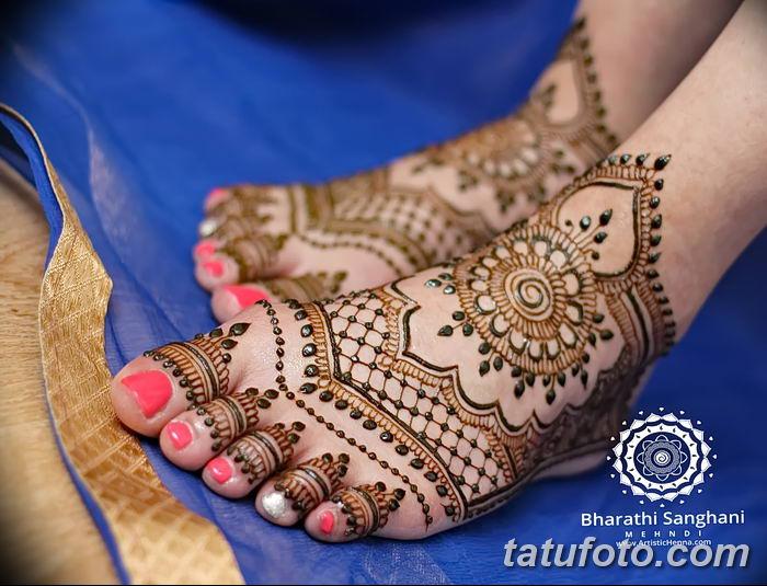 фото Мехенди на лодыжке от 13.07.2018 №119 - Mehendi on the ankle - tatufoto.com