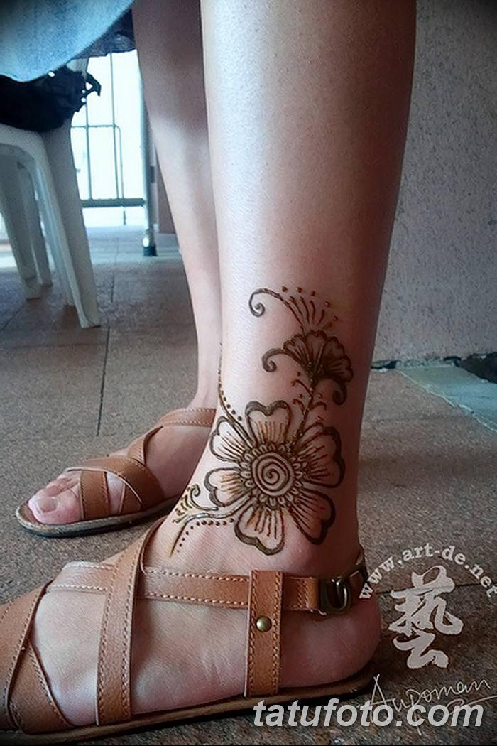 фото Мехенди на лодыжке от 13.07.2018 №122 - Mehendi on the ankle - tatufoto.com