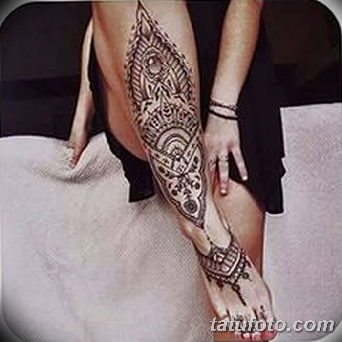 фото Мехенди на лодыжке от 13.07.2018 №125 - Mehendi on the ankle - tatufoto.com