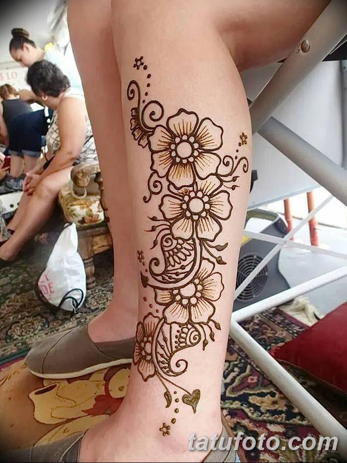 фото Мехенди на лодыжке от 13.07.2018 №128 - Mehendi on the ankle - tatufoto.com
