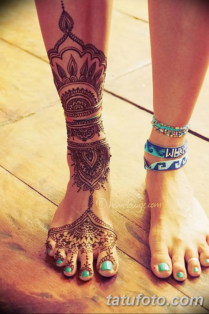 фото Мехенди на лодыжке от 13.07.2018 №133 - Mehendi on the ankle - tatufoto.com