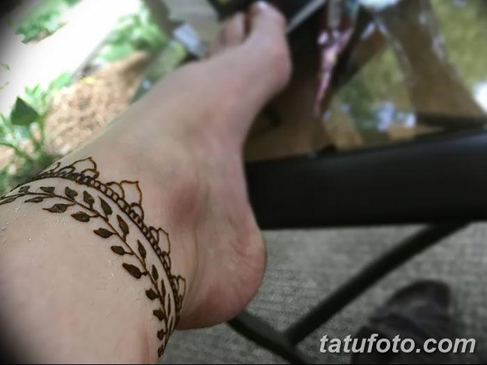 фото Мехенди на лодыжке от 13.07.2018 №135 - Mehendi on the ankle - tatufoto.com