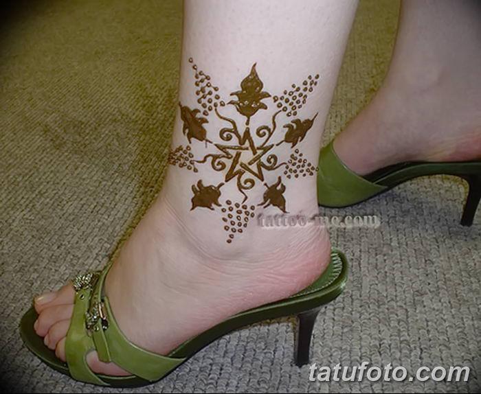 фото Мехенди на лодыжке от 13.07.2018 №146 - Mehendi on the ankle - tatufoto.com