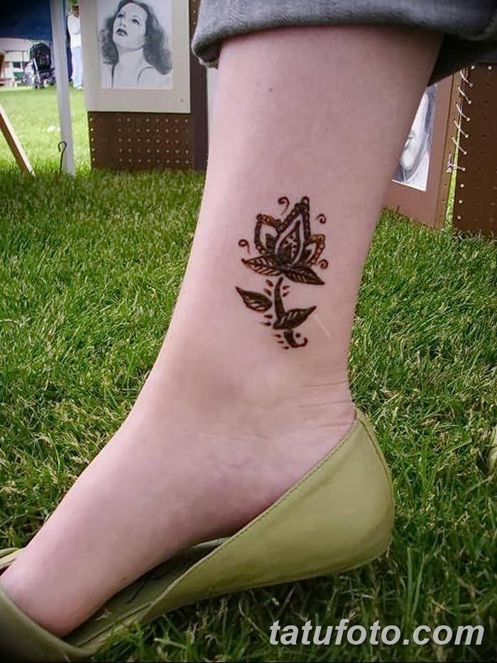 фото Мехенди на лодыжке от 13.07.2018 №158 - Mehendi on the ankle - tatufoto.com