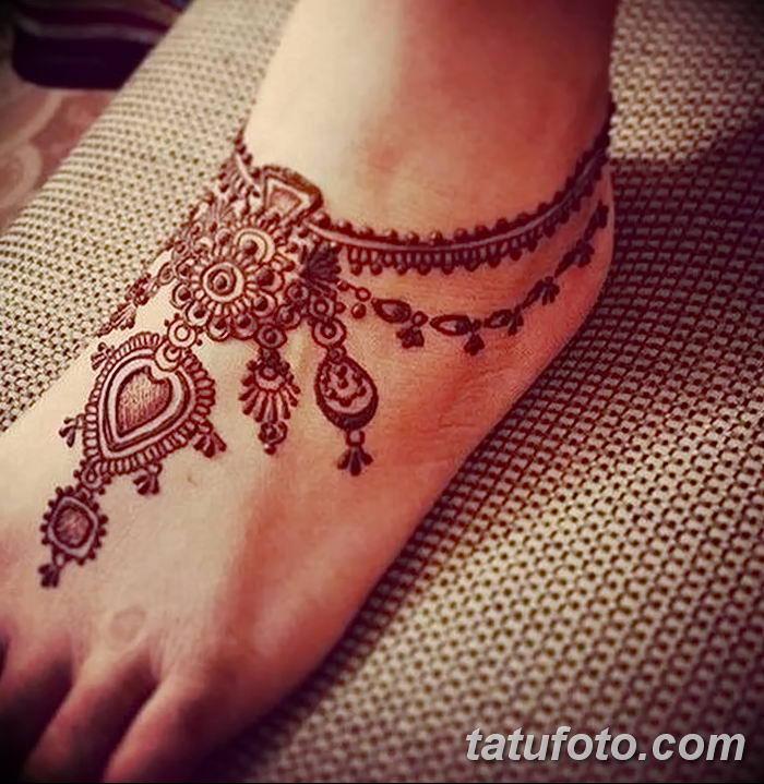 фото Мехенди на лодыжке от 13.07.2018 №162 - Mehendi on the ankle - tatufoto.com