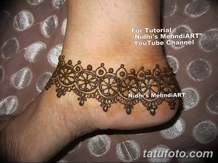 фото Мехенди на лодыжке от 13.07.2018 №169 - Mehendi on the ankle - tatufoto.com