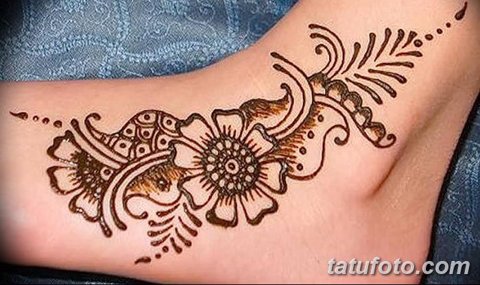 фото Мехенди на лодыжке от 13.07.2018 №205 - Mehendi on the ankle - tatufoto.com